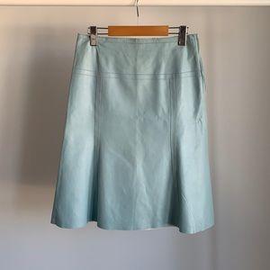 Danier Vintage A-line Powder Blue Leather Skirt